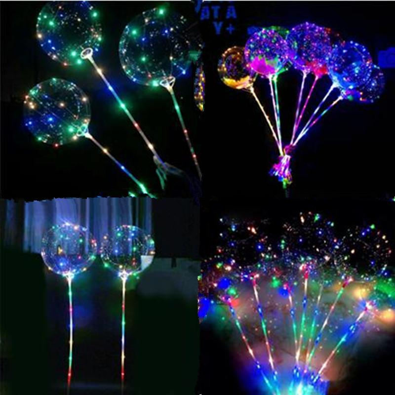 Bobo Boule LED clignotant ballon transparent lumineux clignotant ballons avec 70cm bâton 3M Chaîne Blinking Ballon de Noël de soirée de mariage Décor