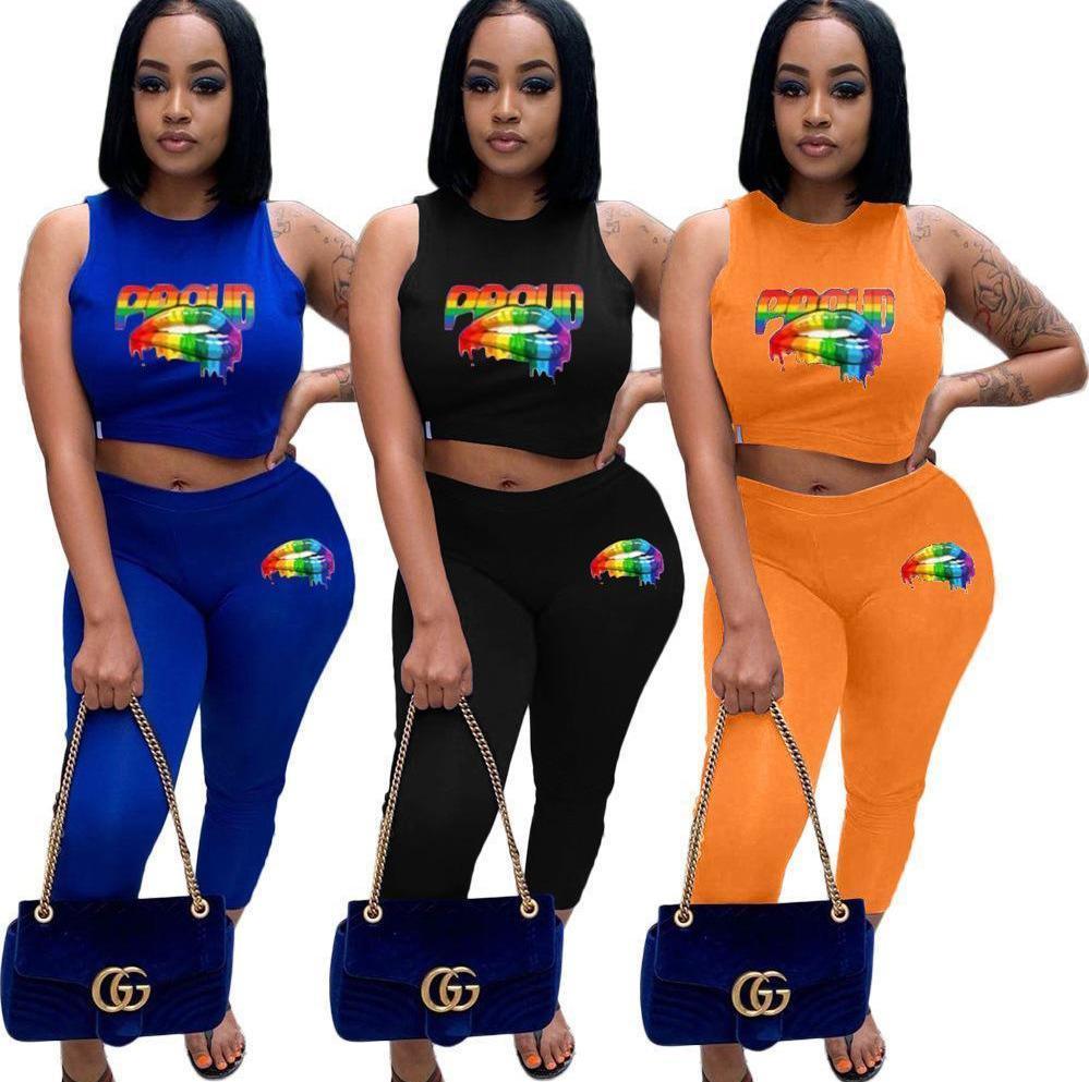 summer colthes Women Two Piece Outfit Tuta Set Girocollo Stampa labbra Top e pantaloncini Tuta sportiva Tuta da jogging