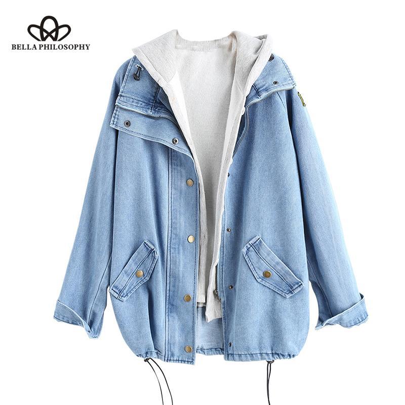 Bella Philosophie 2019 S Button Up Damen Denim Women Jacke mit Kapuze 2 Stück 3XL Female Jean Plus Size Frauen-Mantel
