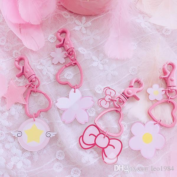 Korean Sweet Cherry Butterfly Knot Star Flower Pendant Key Ring Bestie