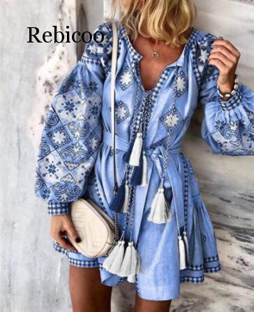 우아한 쉬폰 보헤미안 스타일 드레스 여성 프린트 V 넥 드레스 플러스 사이즈 술 중공 아웃 긴 소매 미니 드레스 비치 Vestidos