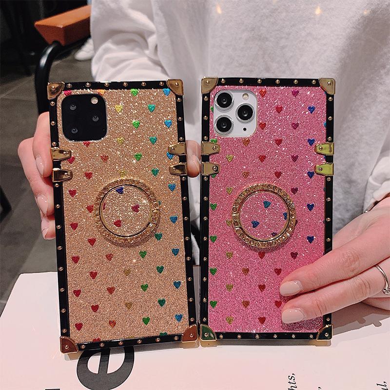 Luxus-Leder-Telefonkasten für iPhone 12 11 pro x x x XR 8 7 Abdeckung für Samsung Galaxy S21 S20 S10 Anmerkung 20 10 Bracket-Gehäuse
