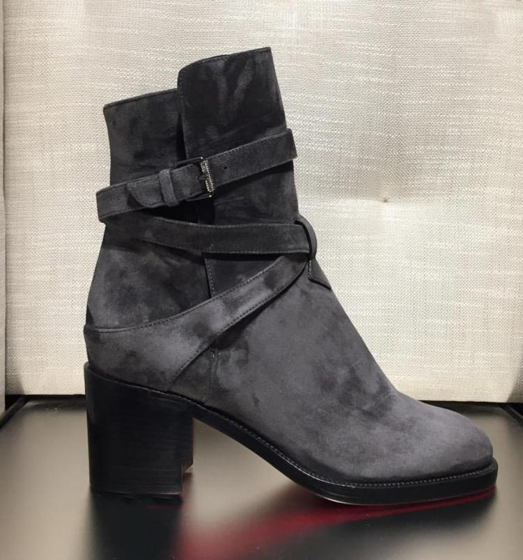 بيغيني أحذية جلد العجل جلدية حقيقية أحذية الأحمر السفلي للكعوب النساء Karistrap bootie حذاء عالي الكعب كتلة التمهيد الكاحل مع الأشرطة العليا