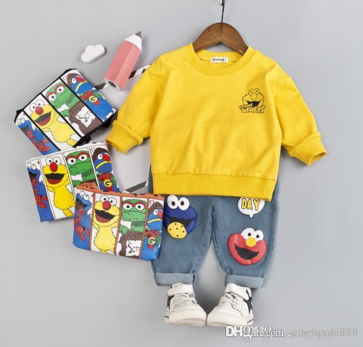 Baby 2019 neuen Frühling und Herbst Baby Kinderkleidung Cartoon runden Kragen Langarm Jeans zweiteilige Anzug Meistverkaufte neue Modelle S