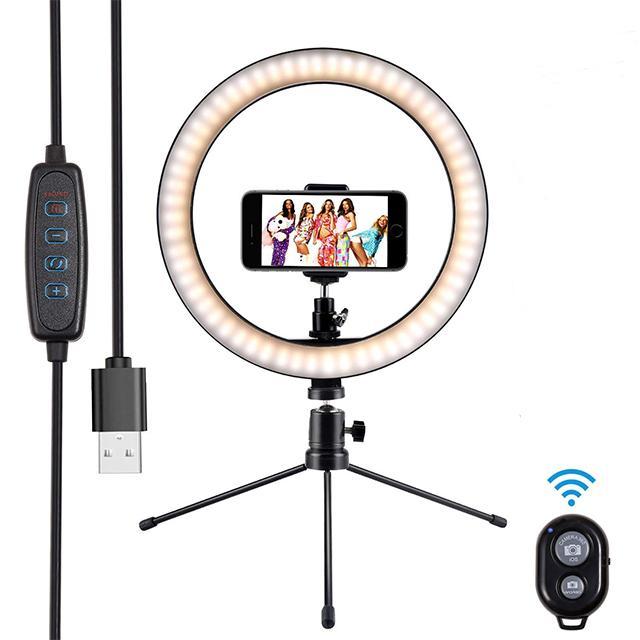 Fotográfica iluminação regulável 10 polegadas LED selfie Ring Light Luz de preenchimento com tripé obturador remoto para Streaming Maquiagem