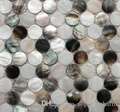 Azulejo redondo blanco de n/ácar con dise/ño de mosaico para ba/ño o cocina