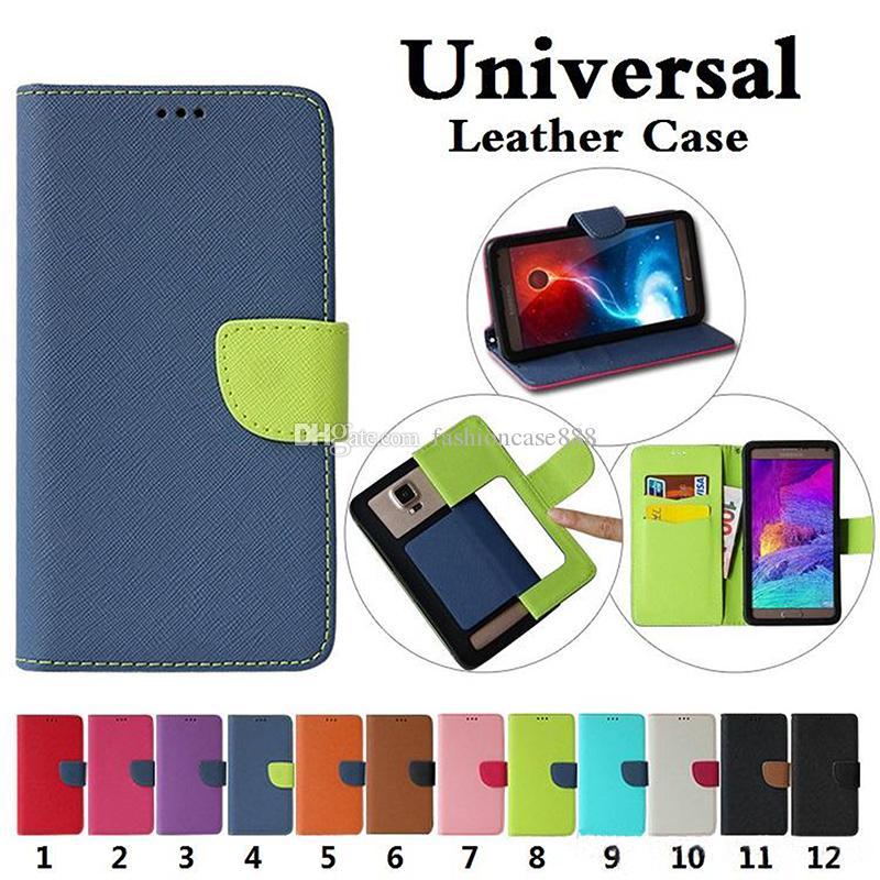 PU de la carpeta del tirón universal con ranura de tarjeta de crédito de cuero del caso de 3.5 pulgadas a 6.0inch del teléfono para el iPhone Samsung Huawei XIAOMI LG 12 colores