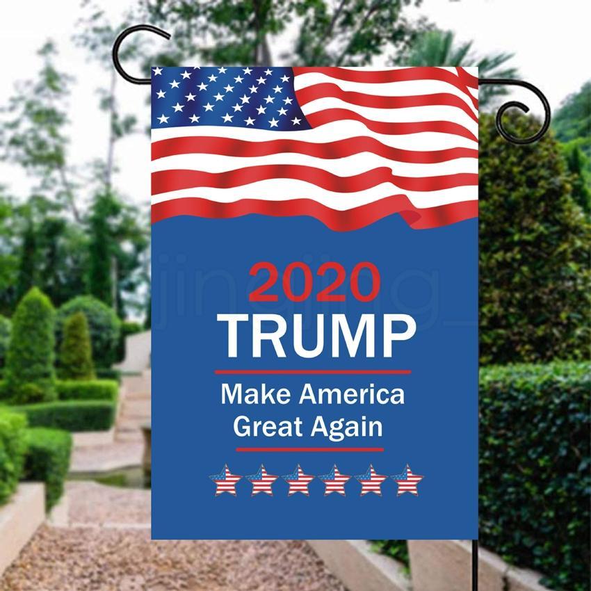 13styles 30 * 45cm TRIUNFO bandera de jardín para la selección USA 2020 apoyar al presidente de la decoración al aire libre de los apoyos favor de partido banderas FFA4017-6