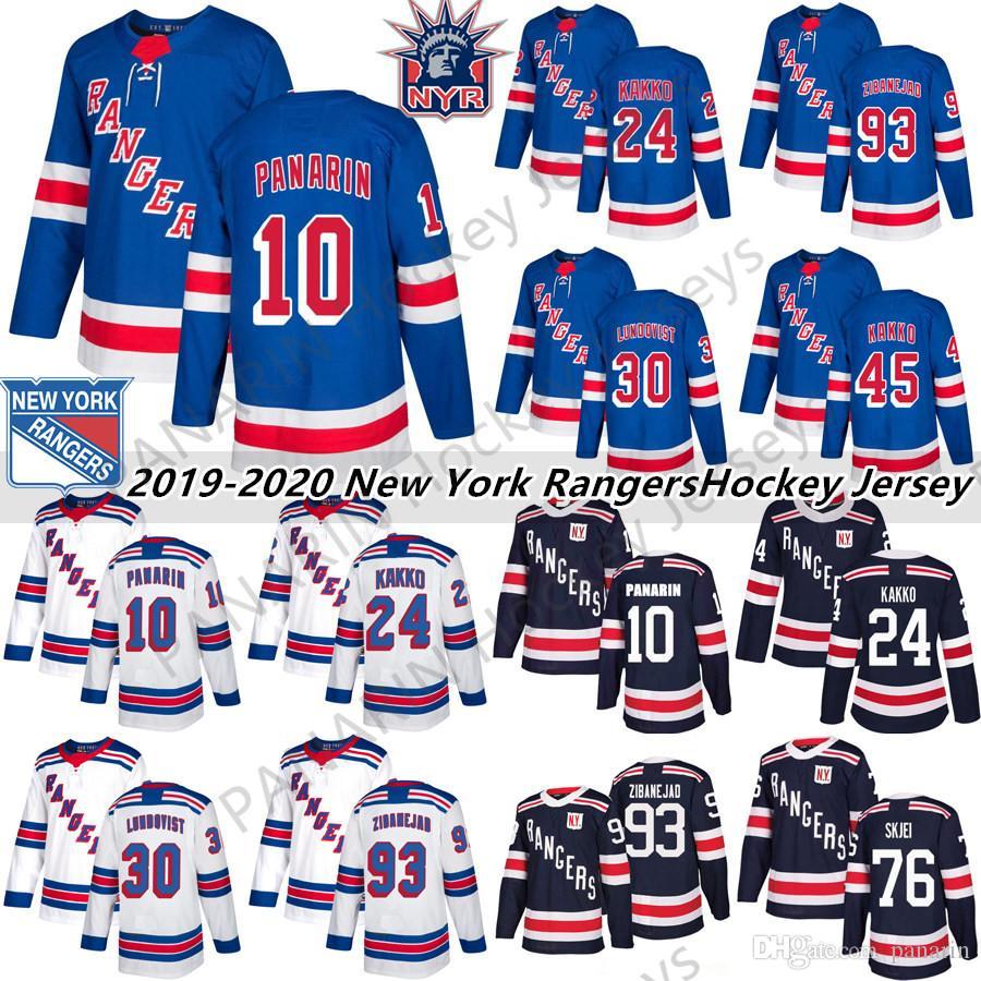 2019 New York Rangers 10 Artemi Panarin 24 Kaapo Kakko 30 Henrik Lundqvist 76 Brady Skjei 8 Jaco Trouba Hockey Jersey