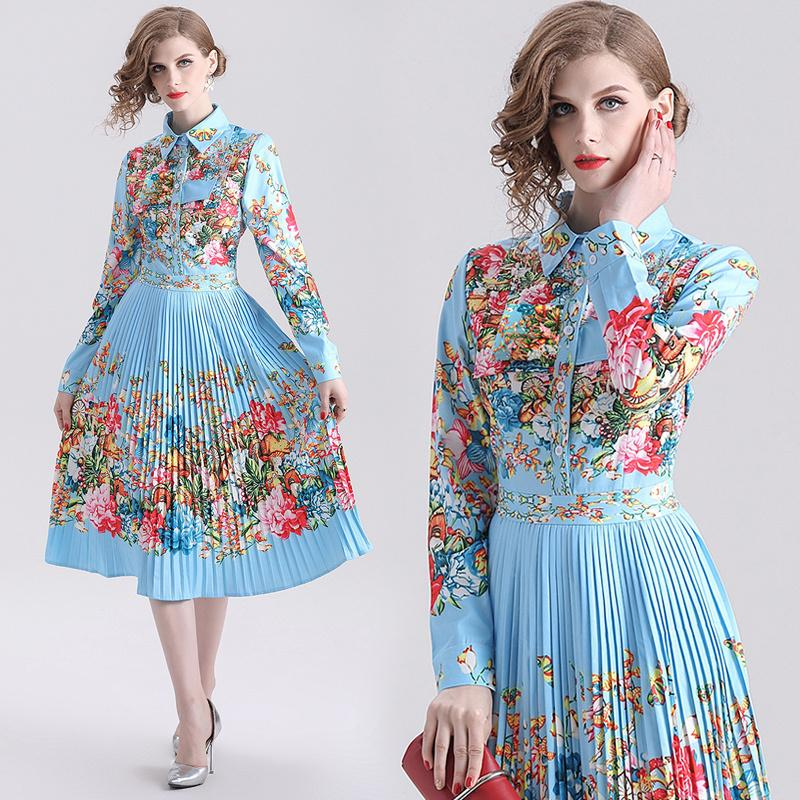 New Spring Summer Fall Runway Floral Print Collar Long Sleeve Empire Waist Women Ladies Casual Party A-Line Midi Beach Pleated Dress