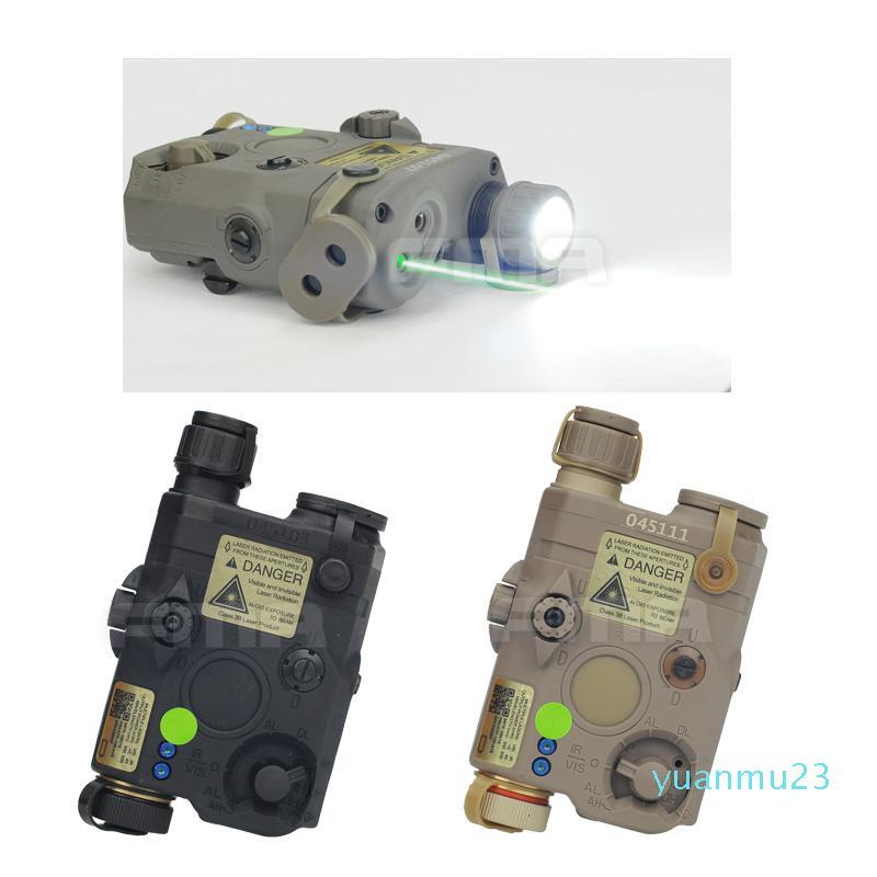 Toptan-FMA-0073 PEQ LA5 IR Lensler BK / DE / FG Kask Işık ile Versiyon LED Beyaz ışık + Yeşil lazer Yükseltme