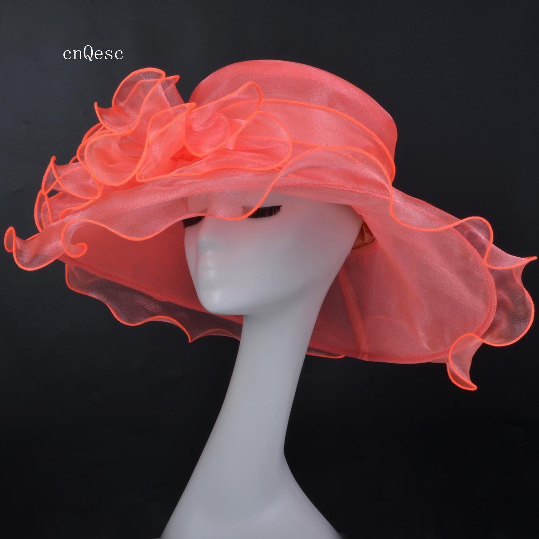 2019 Mercan pembe Geniş ağız Organze Şapka Net şapka Bayanlar Örgün Kentucky derby kilisesi düğün yarışları için elbise şapka parti