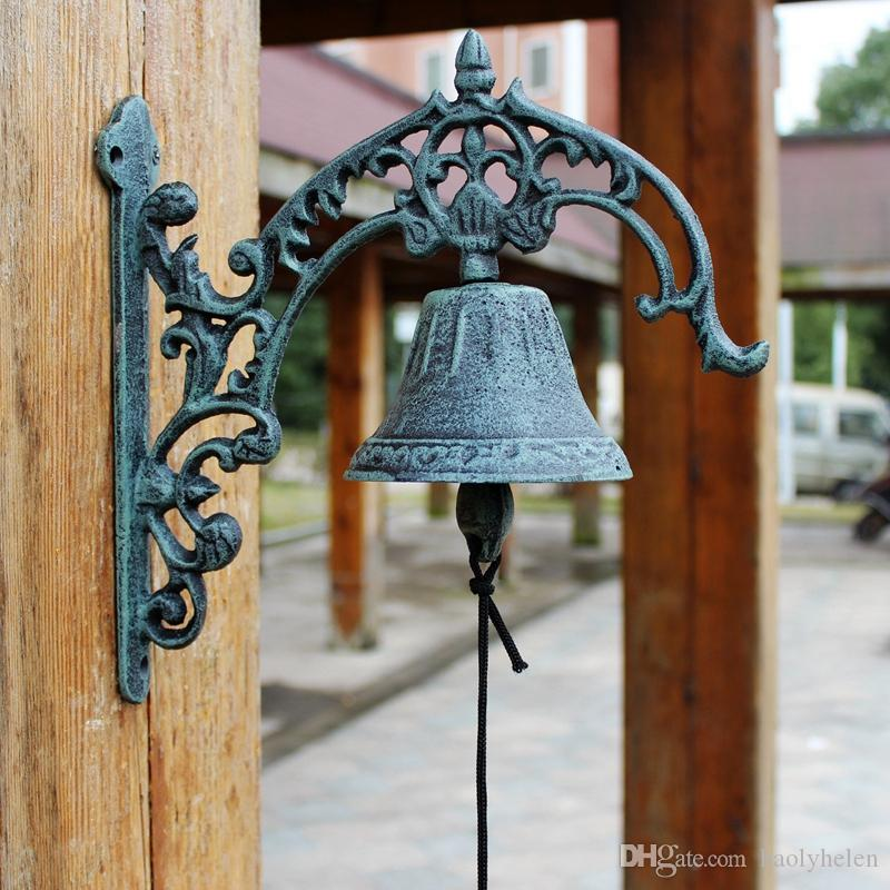 Large Cast Iron WELCOME Dinner Bell Wall Mounted Bell Metal Crafts Home Shop Store Cabin Door Decoration Antique Dark Green Free Shipping