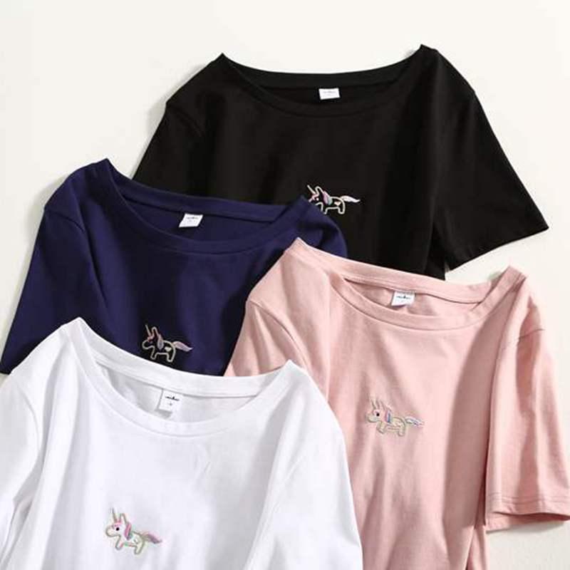GIGOGOU 100 % 코튼 여성 T 셔츠 여름 짧은 소매 탑 티 S-3XL 자수 티셔츠 여성 캐주얼 셔츠 여성 T- 셔츠