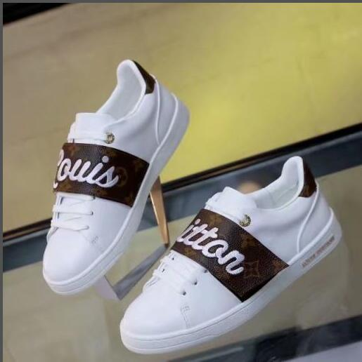 Louis Vuitton LV shoes عام 2020 أحذية جلدية بيضاء رخيصة أصيلة أزياء النساء المصممات يقمن بتزيين الأحذية العرضية ذات الرباط الأسود 4 ألوان أحذية رياضية منخفضة القمة