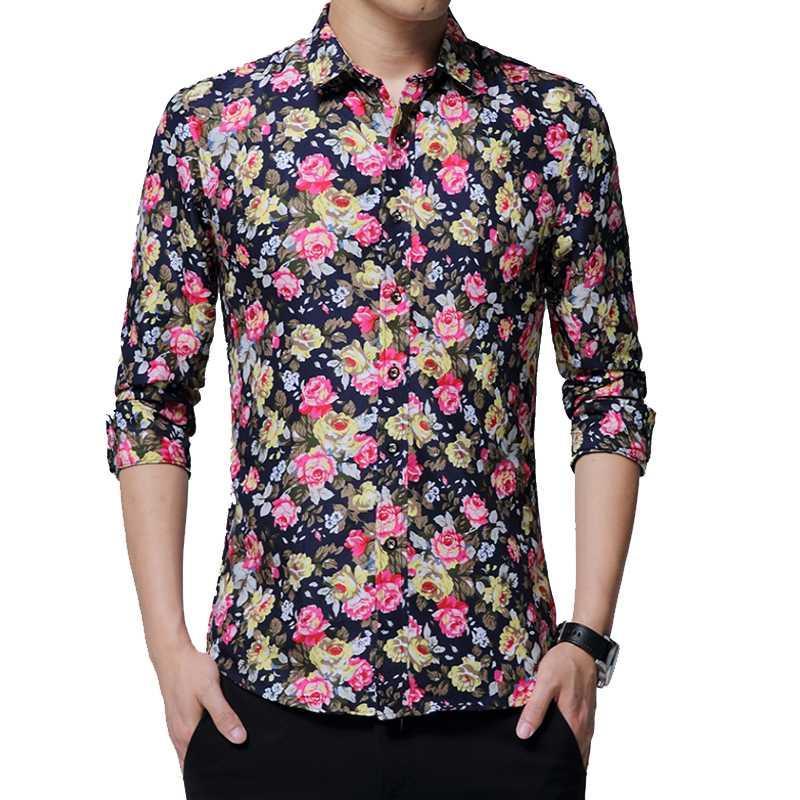 Men's Dress Shirts Brand 2021 Fashion Male Shirt Long-Sleeves Tops Small Floral Casual Mens Slim Men Oversize 5XL