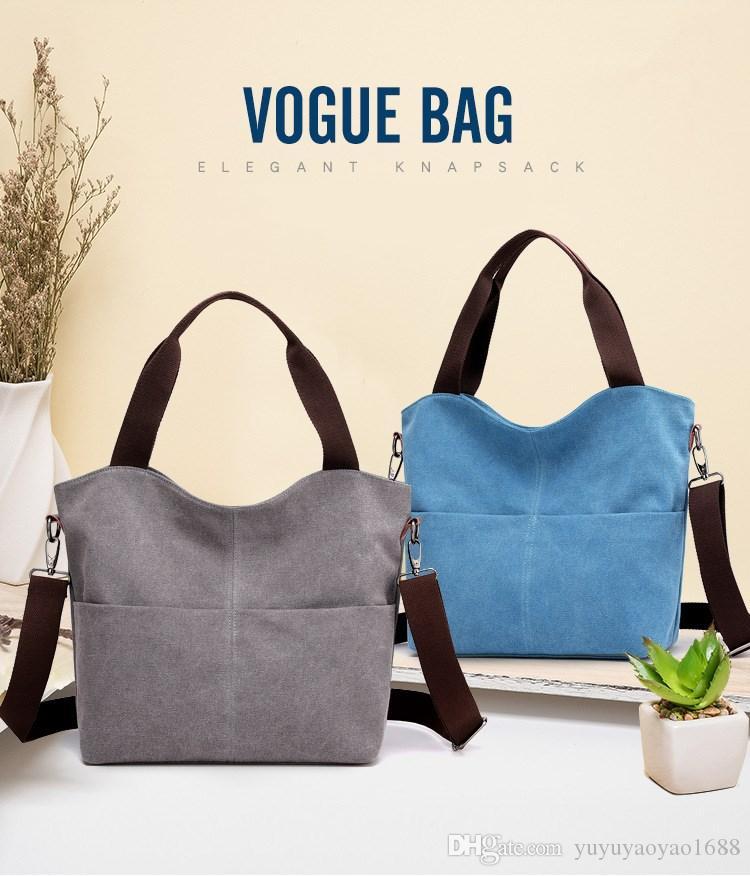 Saco de lona simples e elegante, big bag, nova moda, grande capacidade, ombro único, sacola, saco cross-body