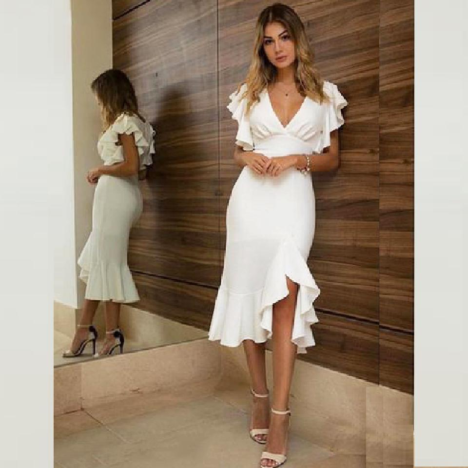 Элегантные сексуальные женщины вечеринка платье v шеи русалка платья выпускного вечера оборками длина чайной длины коктейль настроить вечерние платья