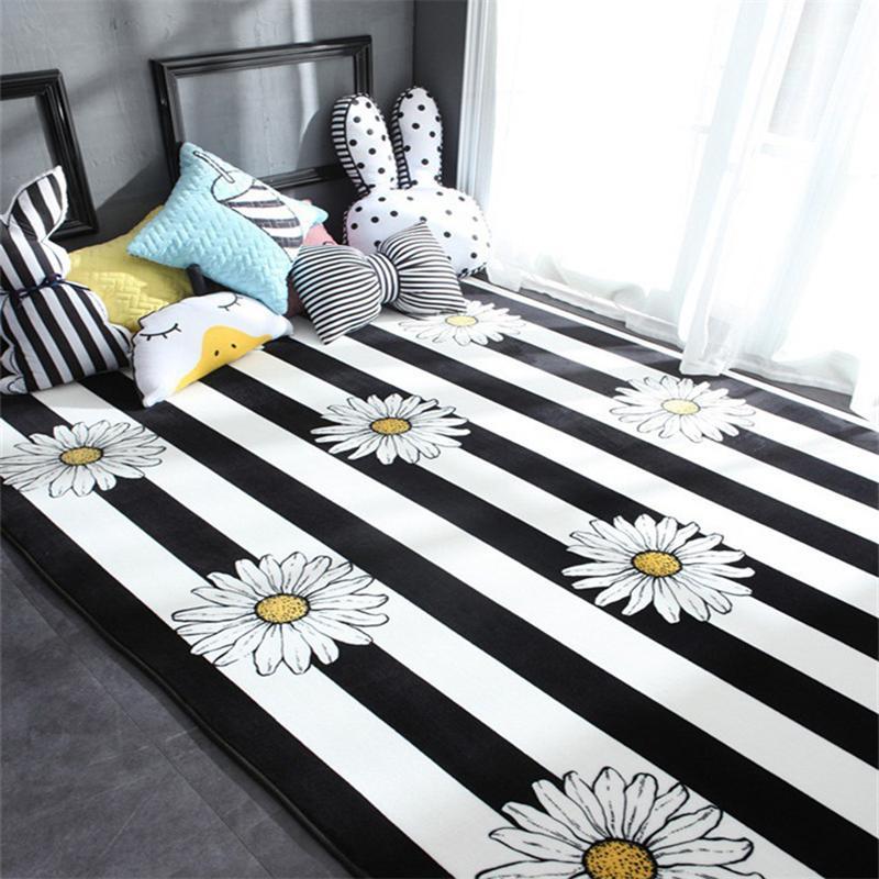 흰색 꽃 목가적 인 스타일 카펫 발코니 부엌 바닥 매트 거실 대형 카펫 홈 매트 그레이트 룸 장식