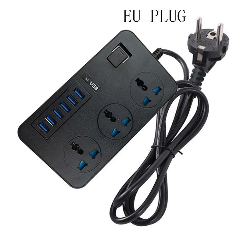 T09 3000W Yüksek Güç Çok Fonksiyonlu Plug-in 3-Hole Uluslararası Evrensel Jack + 6 USB Akıllı Şarj AB PLUG