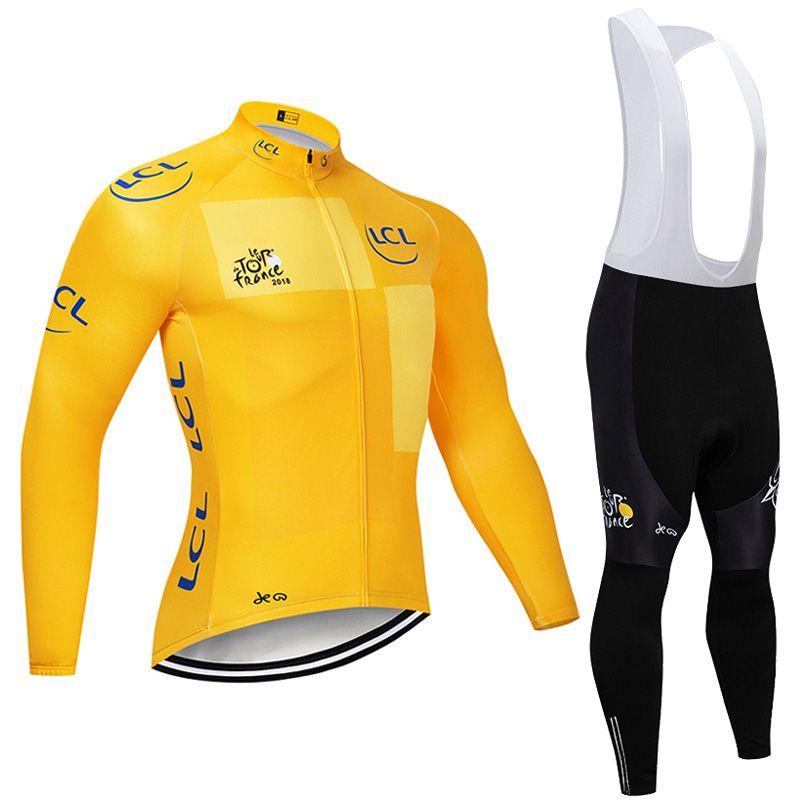 TOUR DE FRANCE team Cycling long Sleeves jersey bib pants sets Bike wear Outdoors Sports Comfortable clothes mens clothing Q61058