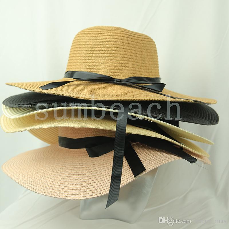 Verano de las mujeres de ala ancha sombreros de moda de Protección Solar Beach sombrero con la cinta portátiles al aire libre ajustable sombreros de Sun