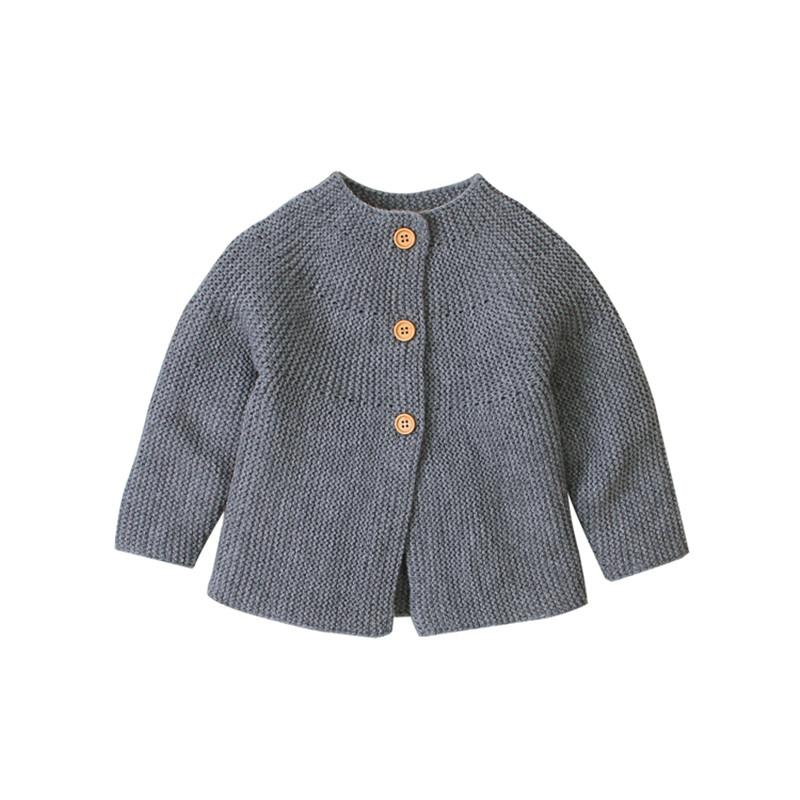 2019 Solid Knitted Sweater Jacket Coat Outwear Tops Newborn Infant Baby Girl Autumn Winter Clothes Gray Pink