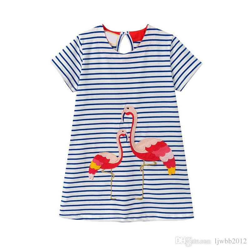 플러 튼 자 수 디자인 코 튼 스트라이프 인쇄 소녀 드레스 키즈 디자이너 옷 소녀 귀여운 공주 드레스 어린이 치마