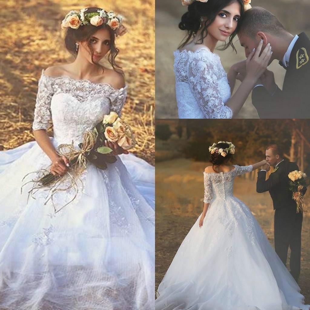 Manches mi-longues Robes de Mariée Tulle Arabie Saoudite Taille Plus personnalisé Appliques Robe de Novia Robe de mariée formelle