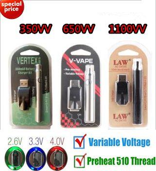 Preheating VV Rechargeable Vape Pen Cartridge Variable Voltage Battery Blister Pack Kit 350 Vertex 650 V Vape 1100 mAh Law OEM Availabl