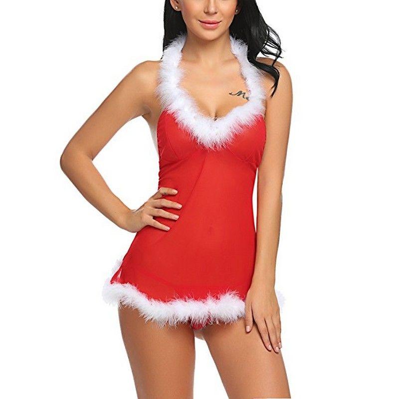 Beyaz Bulanık Trim Kadınlar Sexy Lingerie Külot Takımı XXL ile Özledim Santa boyundan bağlı bluz Noel Şenlikli Kırmızı Mesh Backless Babydoll Tatil Chemise
