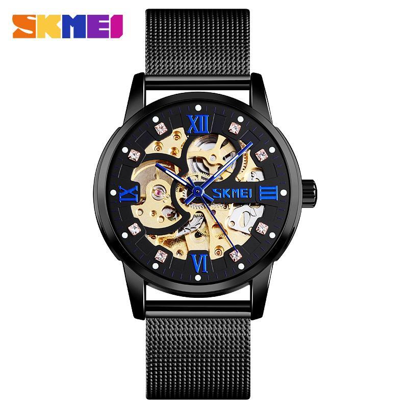 Skmei Automatic Mechanical Watch for Men Hollow out Gear Design Strainless Steel Wrist Men's Watches Waterproof Wristwatch 9199