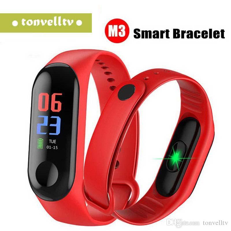 Nuevo reloj de pulsera inteligente M3 Impermeable Contador de pasos Deportes Frecuencia cardíaca Presión arterial Pulsera deportiva multifunción