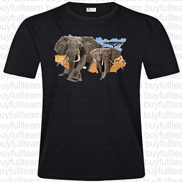 2019 3D Elephant Herren Schwarz kurze Ärmel Tops Mode-Rundhalsausschnitt T Shirt Größe S M L XL 2XL 3XL