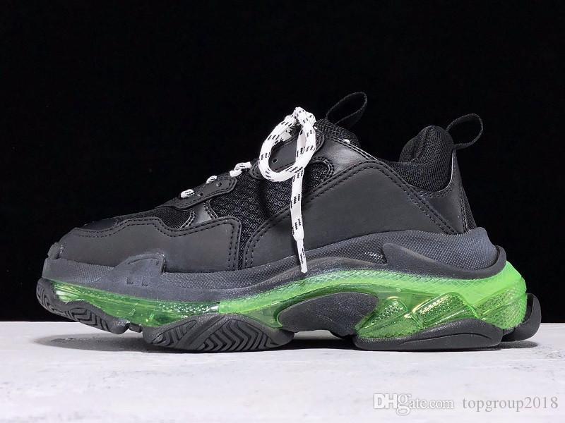 2020 Paris Chaussures Casual Triple-S Dégagez Sole Formateurs Dad Chaussures Sneaker Noir Vert Cristal Bas Hommes Femmes Chaussures Qualité supérieure