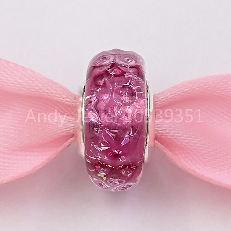 Autentico 925 perline in argento sterling 925 ondulato fantasia rosa di fascino in vetro fascino adatti ai braccialetti di gioielli in stile Pandora europeo collana di bracciali MURAN