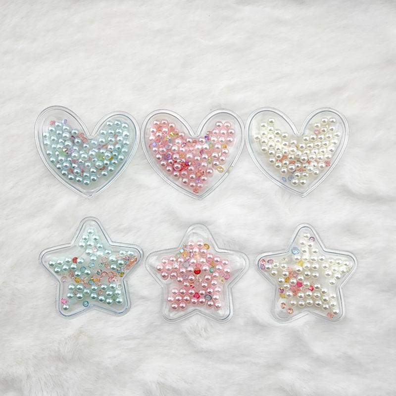 10pcs / Lot 5cm Estrelas Transparente Pérola Bead Dentro Patches apliques para Crianças clipe e cabelo DIY Clipe Acessórios abLQg