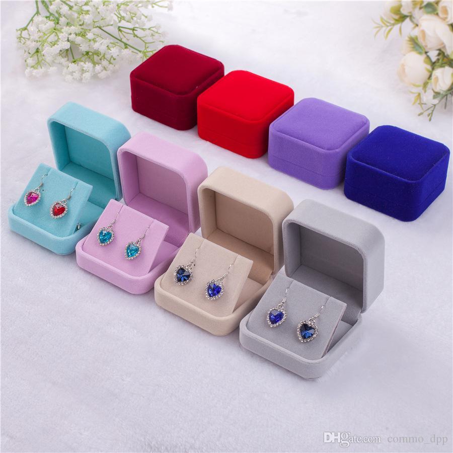 6 cores Moda veludo casos caixas de jóias para única Dangle Brincos de casamento jóias Dom embalagens Exibição Tamanho 70 milímetros * 80 milímetros * 40mm