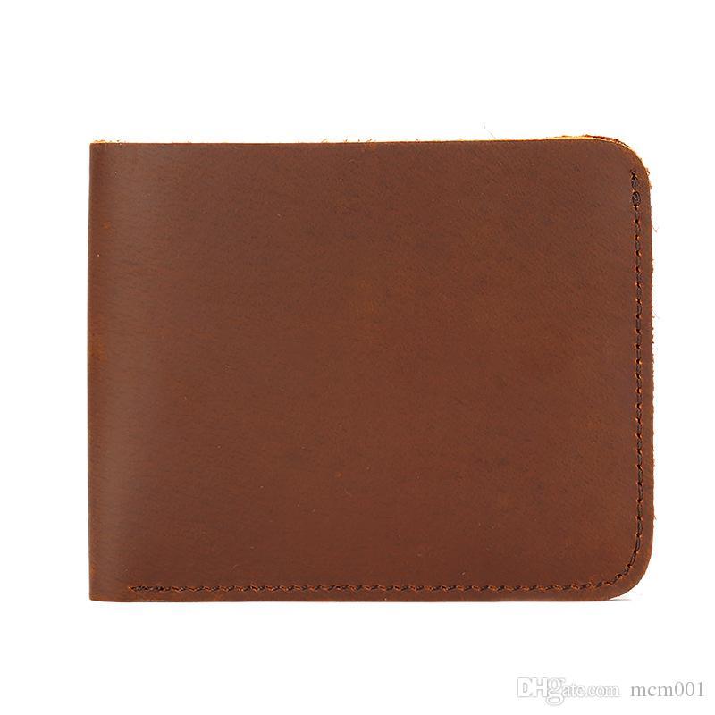 Hommes Crazy Horse cuir Bifold Wallet Card Véritable Portefeuille en cuir Holder Livraison gratuite