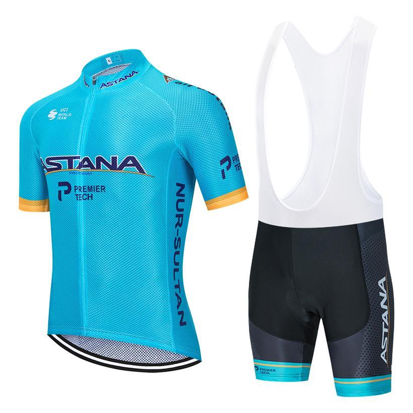 2020 Pro équipe Astana Cycling maillot hommes / femmes d'été cyclisme vêtements respirant VTT bib jersey vélo short kit Ropa Ciclismo