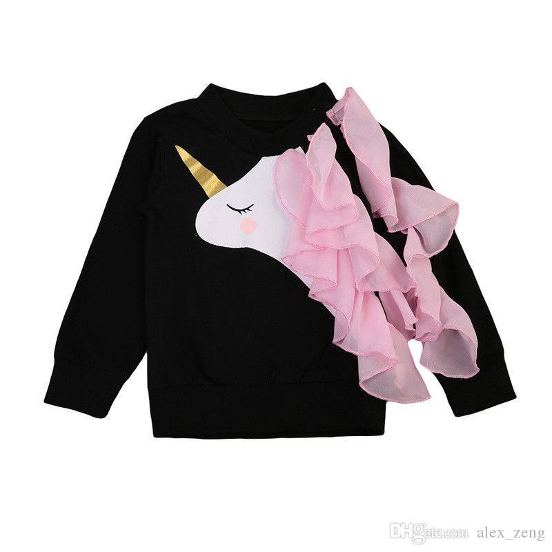 طفل الفتيات تي شيرت 2019 ربيع الأطفال بلوزات الأطفال يونيكورن أزياء الشيفون لصق كم طويل بلايز الأعلى