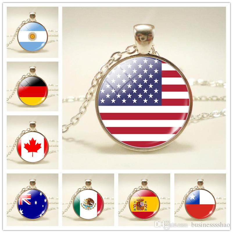 191 Style National Flag Silver Color Long Chain Necklace Time Gem Glass Cabochon World Cup Football Fan Necklaces Jewelry For Women Men Gift