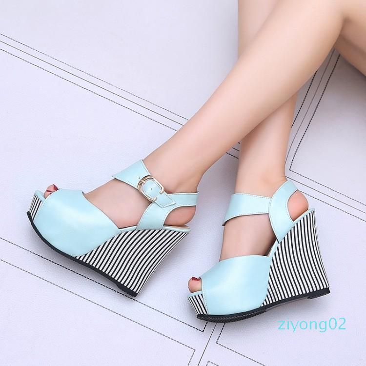 Size 32 To 45 with box Sweet Girl Navy Striped Platform Wedge Shoes Women High Heels Designer Sandals z02