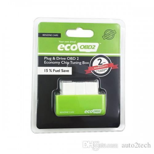 Alta Qualidade EcoOBD2 Economia Verde Tuning Chip Box OBD Car Fuel Saver Eco OBD2 PlugDrive para Benzine Carros Fuel Saving