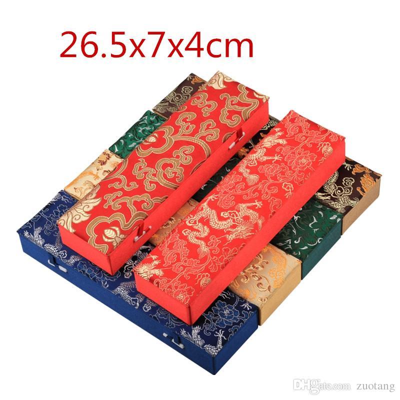 Rectangular Luxury Storage Box Chopsticks Hand Fan Gift Box Craft Chinese Silk Fabric Jewelry Box Necklace Packaging Case 26.5x7x4cm