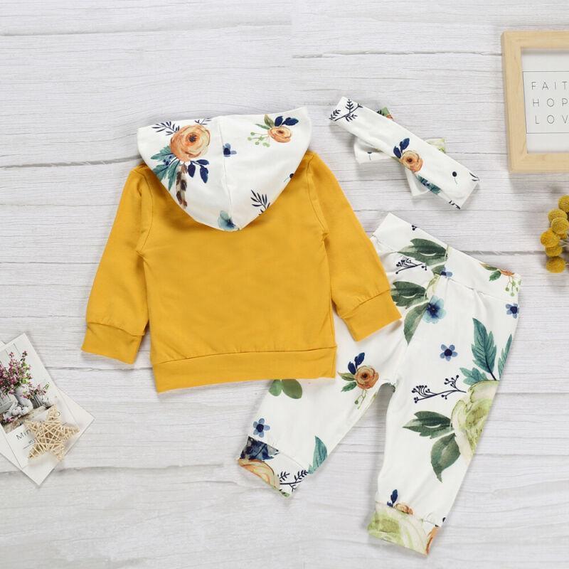 Осень Зима Новорожденный Baby Girl Зимняя одежда Цветочные капюшоном Топы Длинные брюки 3шт костюмы