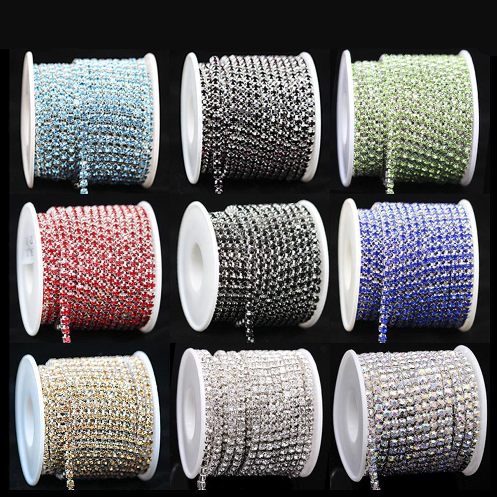 9meters / Rolle SS6 2mm freies Kristallsilber Basis Cup High Density Strass-Greifer-Ketten Diy Trim Sew-On Schmuck Accessoires New Günstige Preis