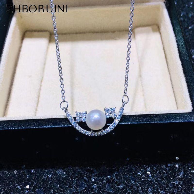 ZHBORUINI 2019 fine Bijoux en perles sourire Choker Collier de perles naturelles Pendentif chaîne 925 bijoux en argent sterling pour les femmes cadeau