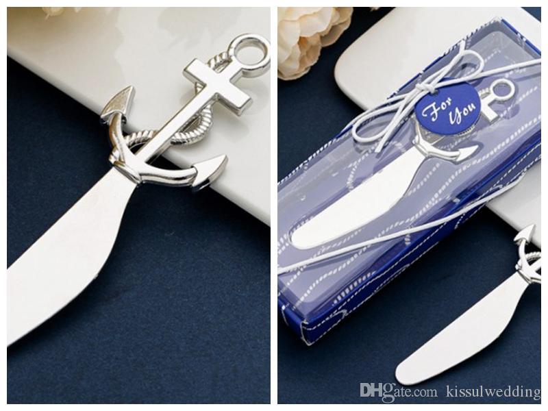 (25 pedaços / lote) espalhador de queijo náutico favores em caixa de presente para âncora Sailboat lembranças de casamento e favores de festa oceânica temática