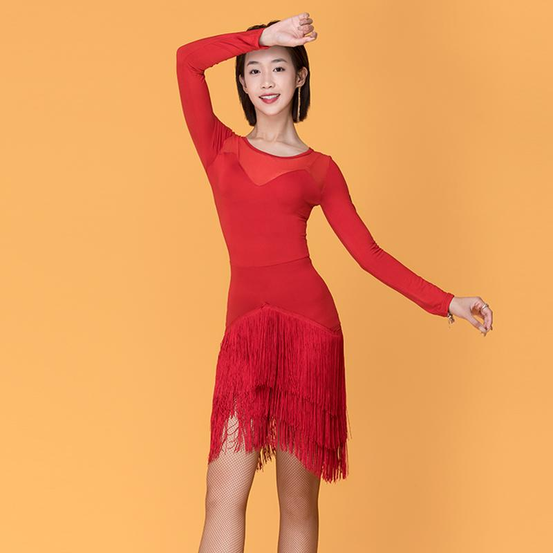 Competição de Dança New Ballroom Dresses Black / Red malha gaze Fringe Saia Ladies Rumba Tango Samba Salsa Cha Cha Dancewear VO348